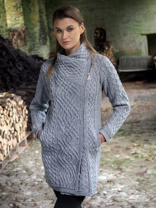 grey side zip aran sweater coat