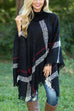 Ceridress Burberry Print Lattice Cloak Poncho Sweater
