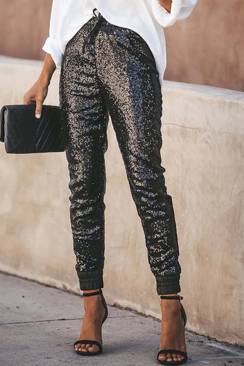 Ceridress PU Elastic Waist Sequin Pants