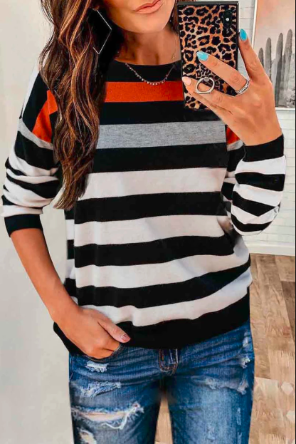 Ceridress Fashion Splice Striped Blouse T-shirt