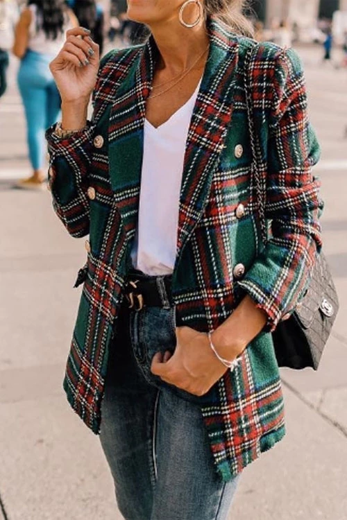Ceridress Plaid British Style Coats
