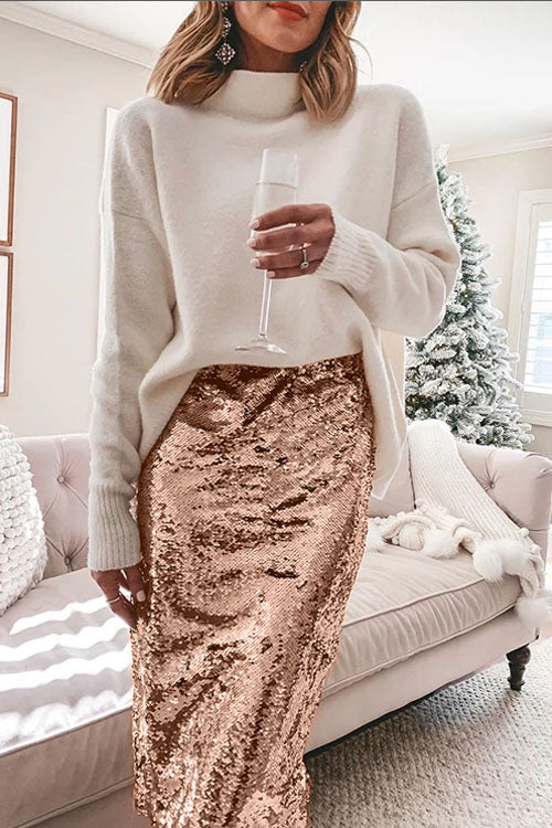 Ceridress Sequin Christmas Party Midi Skirt