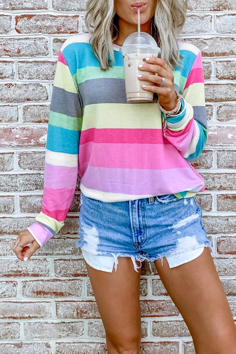 Ceridress Rainbow Striped Top T-shirt
