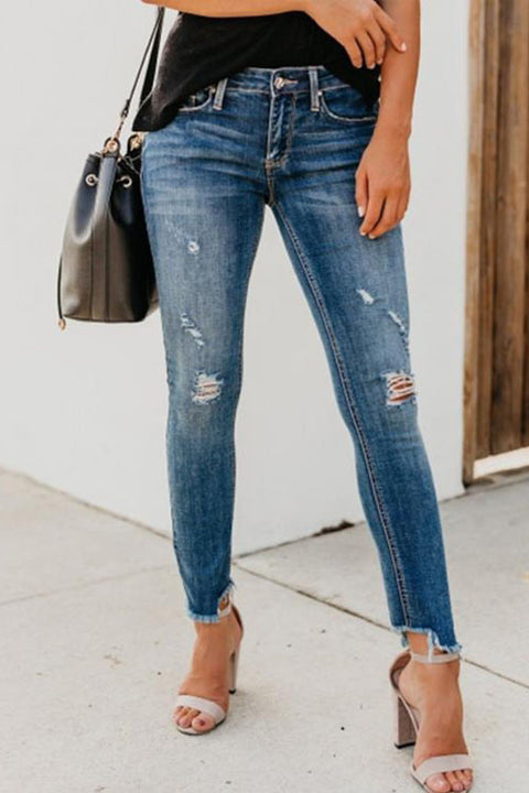 Ceridress Denim Ripped Ankle Jeans