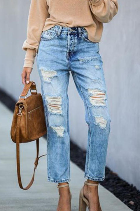 Ceridress Mid Waist Ripped Jeans