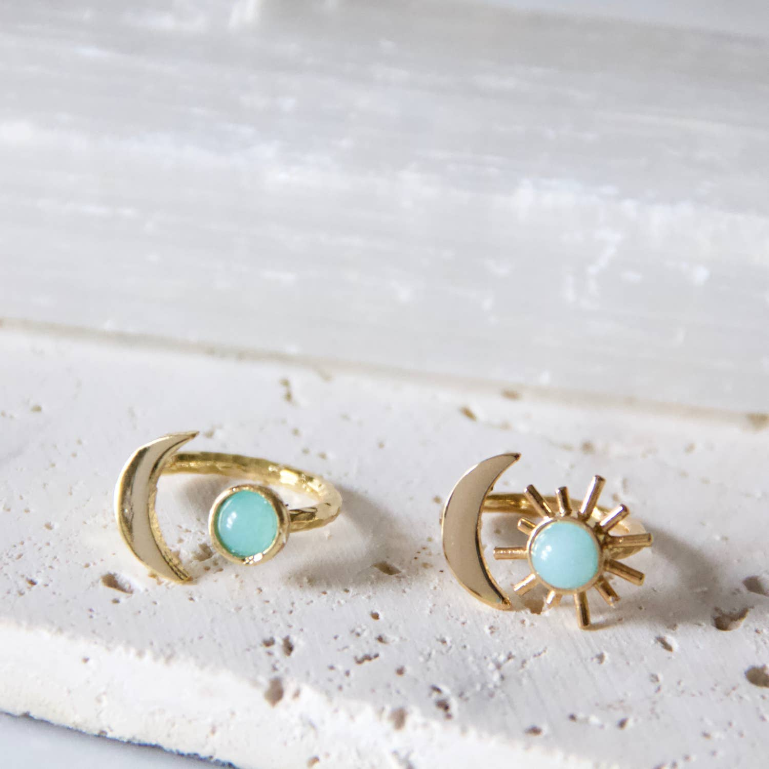 Amazonite Sun and Moon Ring