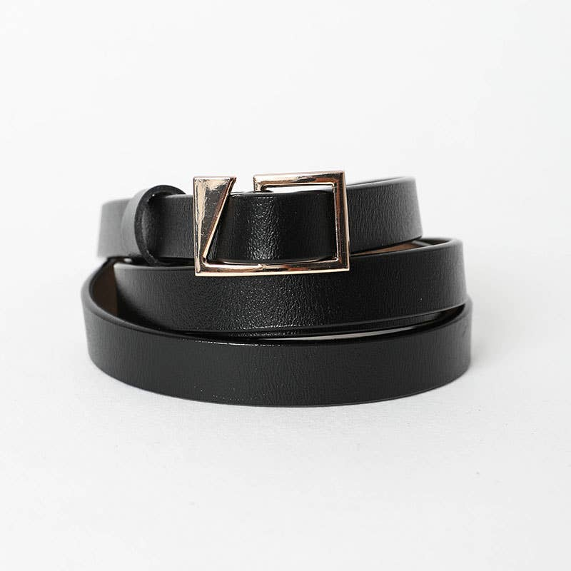 Asymmetrical Buckle Cinch Waist Fashion Belt Black