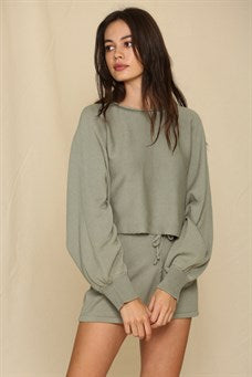 Basil Long Sleeve Cropped Sweater Top