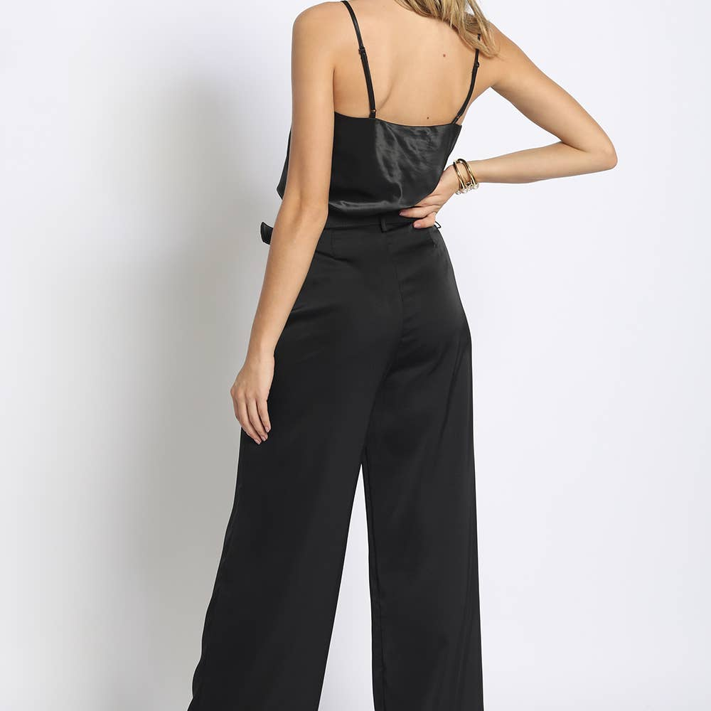 Belted Satin Pants