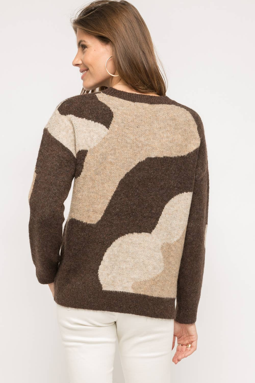 Camo Pattern Pullover Sweater
