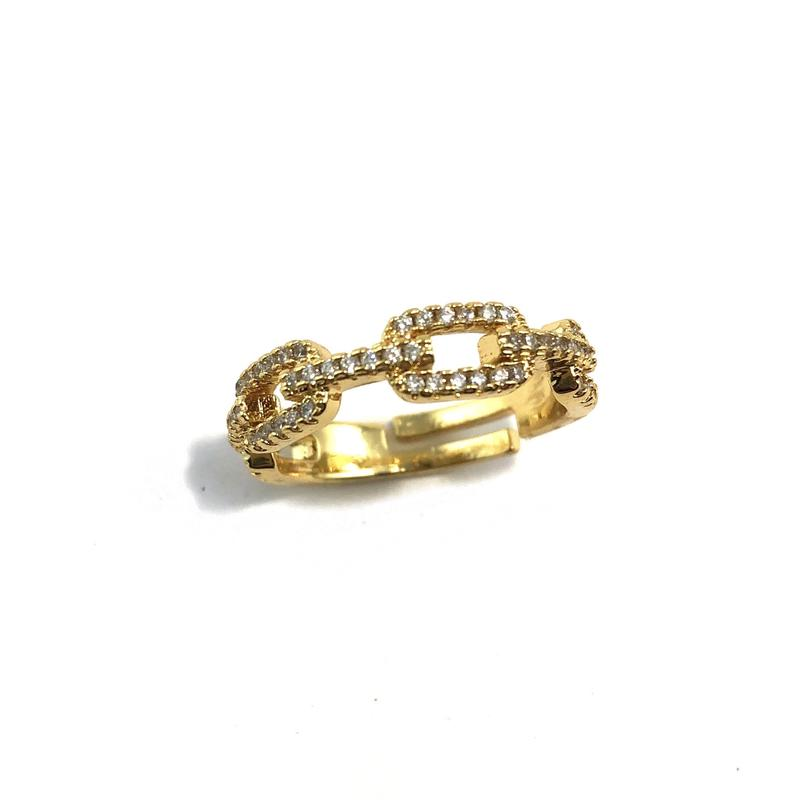 Adjustable Gold Chain Link Ring