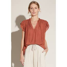 Clay Flutter Sleeve Blouse