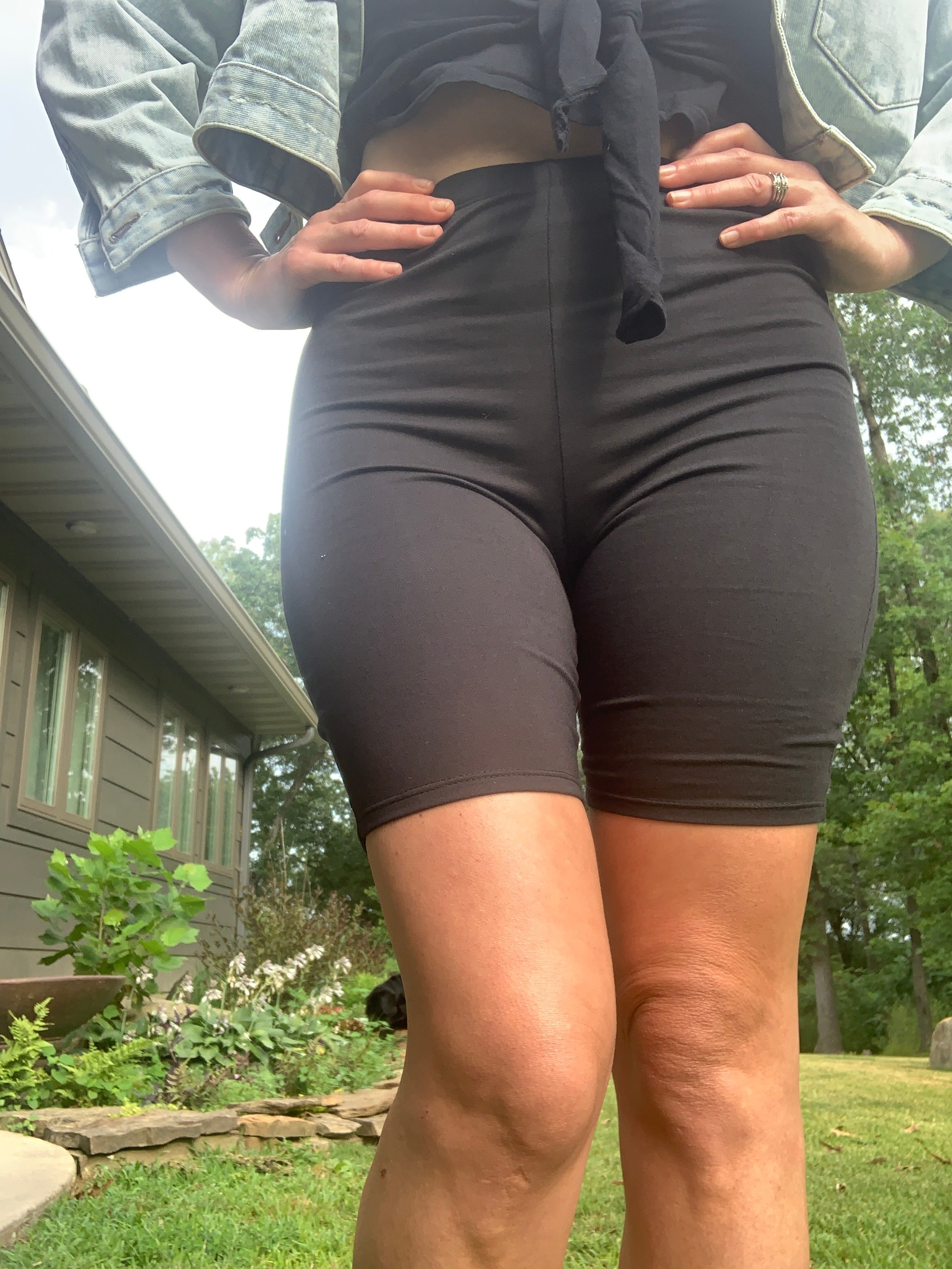 Solid French Biker Shorts