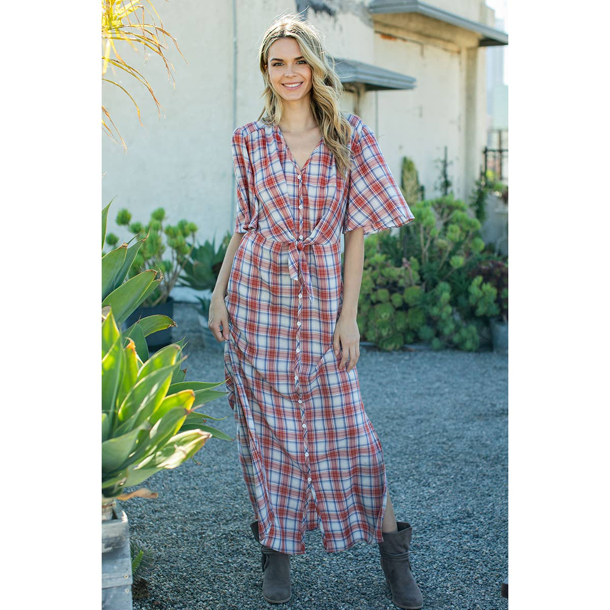 Lucy Plaid Button Down Dress