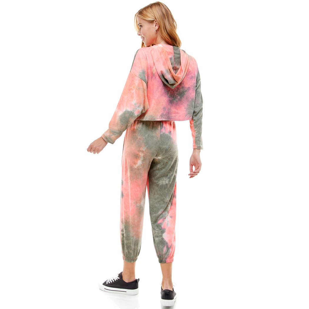 French Terry Tie Dye Cropped Hoodie