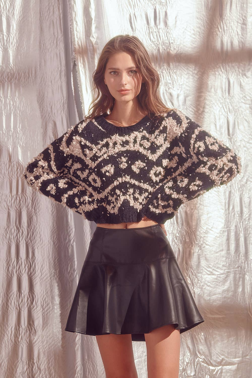 Shaggy Design Print Crop Knit Sweater