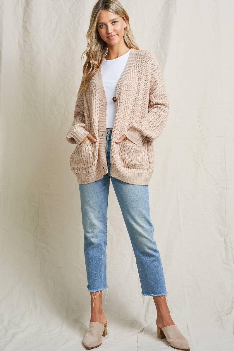 Oatmeal Button Cardigan