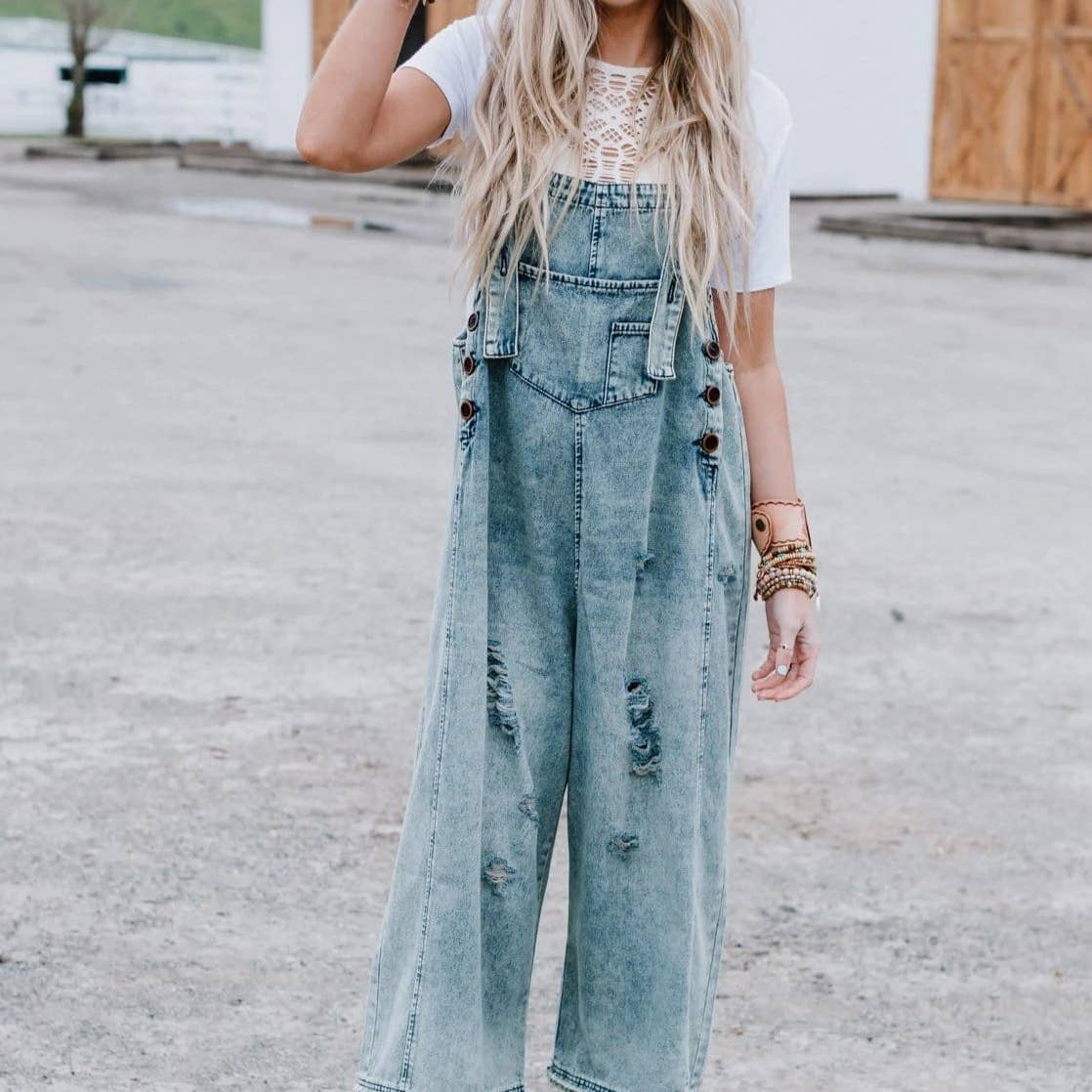 High Hopes Slouchy Denim Overalls