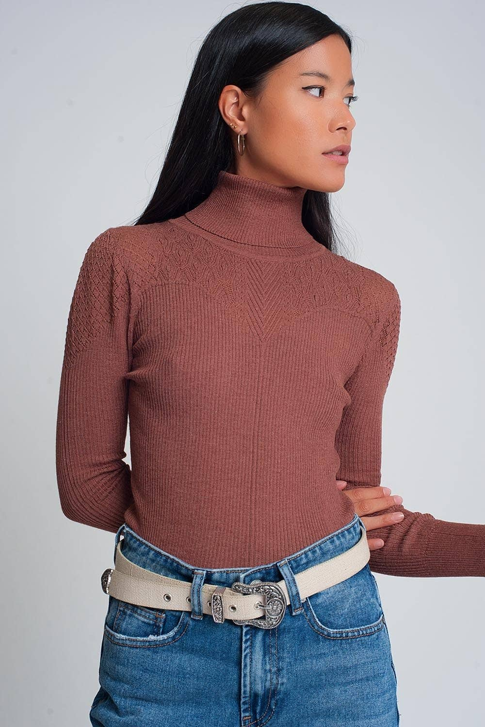 Soft Ribbed Turtleneck Detail Sweater