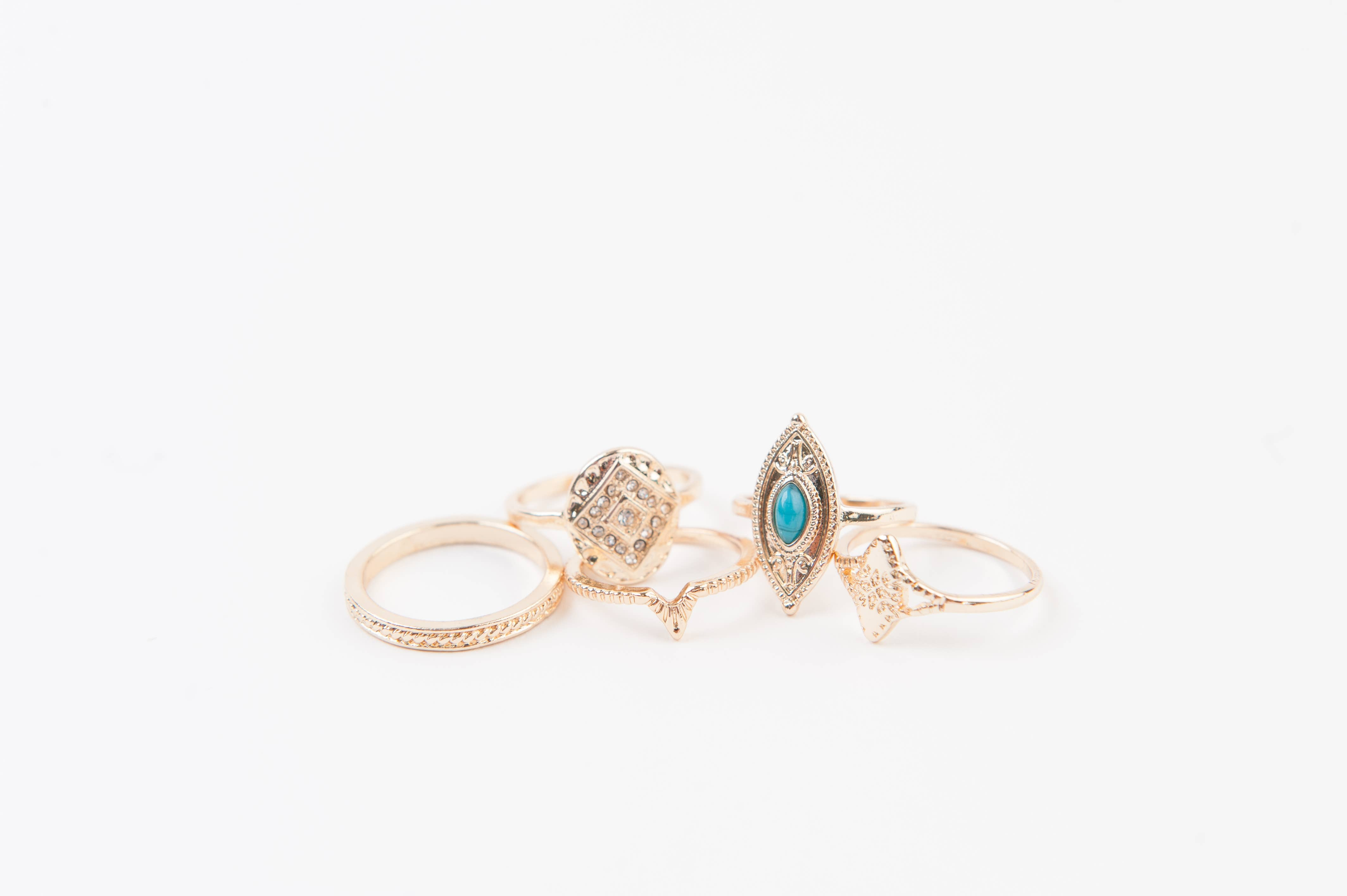 Stone Gold Ring Set