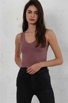 Ribbed UV Neck Cropped Tank