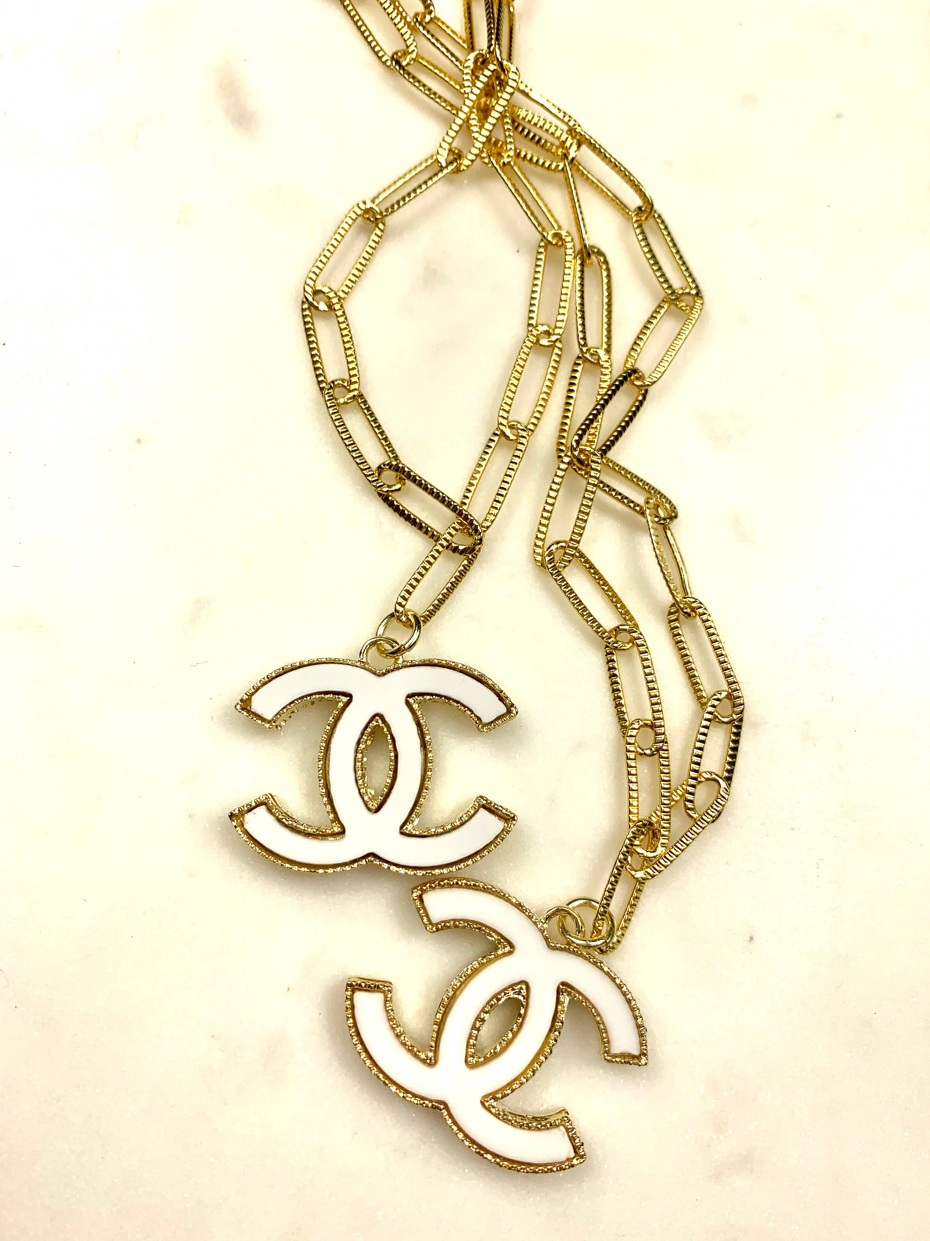 White Enamel and Gold Link Logo Necklace