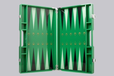 Casa Carta Green Leaf Backgammon