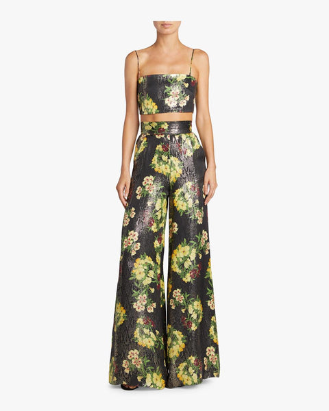 Adriana Iglesias Ana Pants - Yellow Flowers Metallic Silk