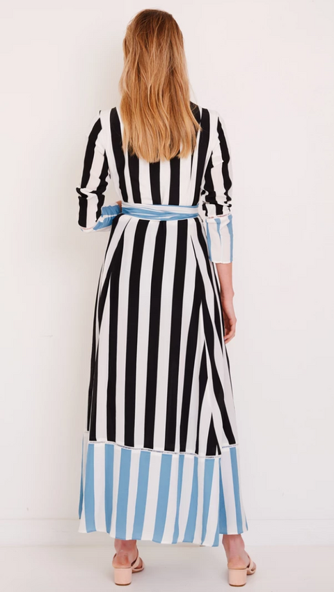 Powder Blue Stripes Maxi Cardigan