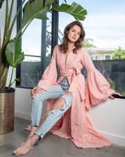 Desert Pink Embroidered Bell Sleeve Maxi Cardigan