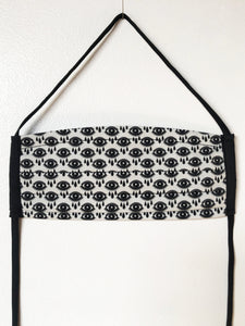 black and white eye print - pleated face mask // face covering - 2 cotton layers - washable / reusable -  all over graphic