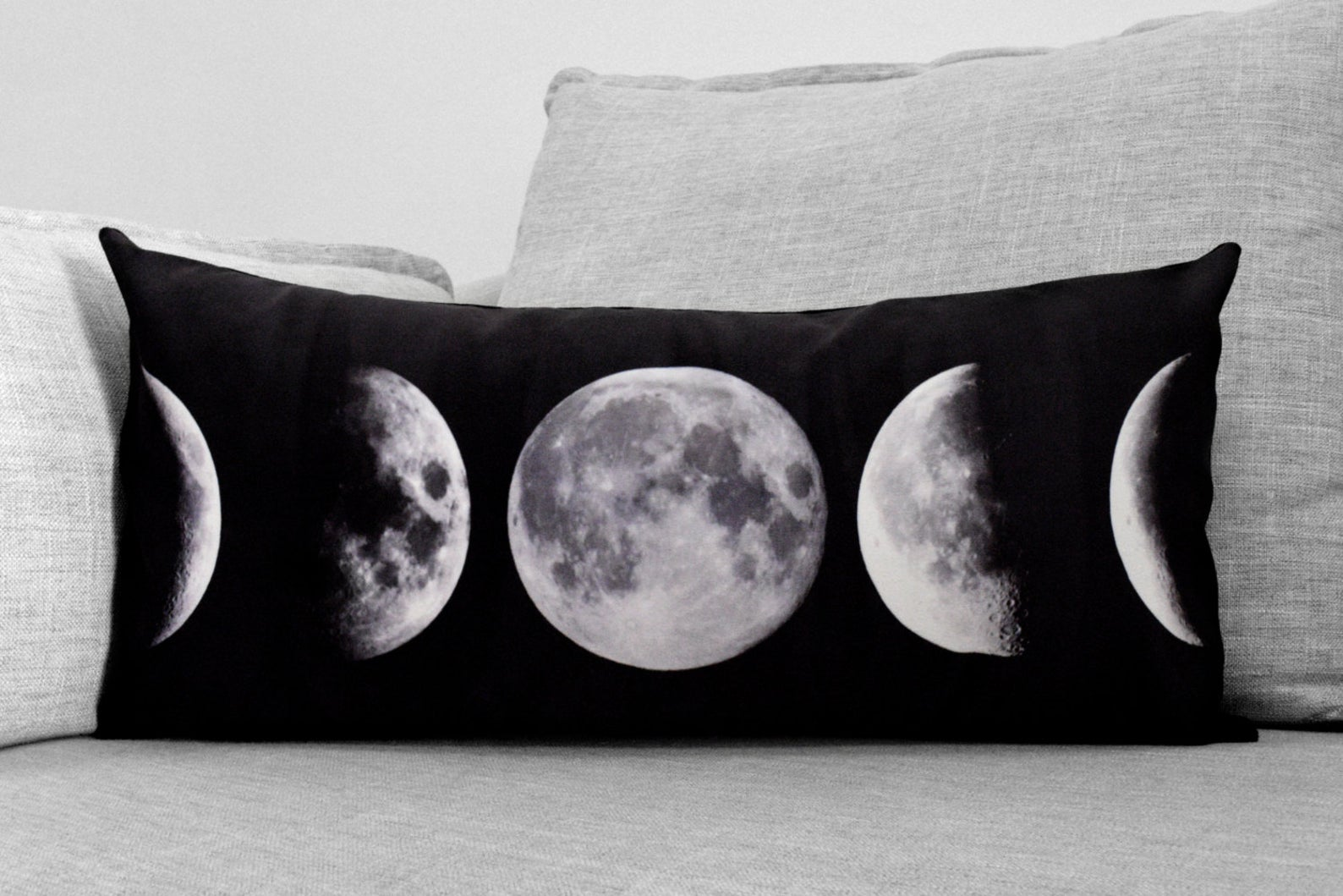 "lunar phases - 12"" x 24"" velveteen lumbar pillow case"