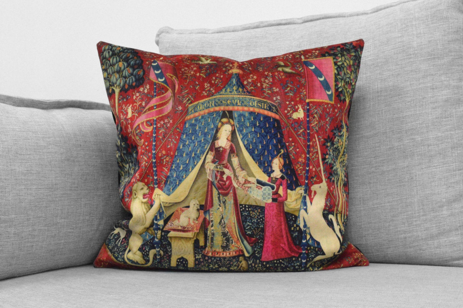 "the lady and the unicorn - 18"" velveteen pillow - unicorn tapestries, 1495 - 1505"