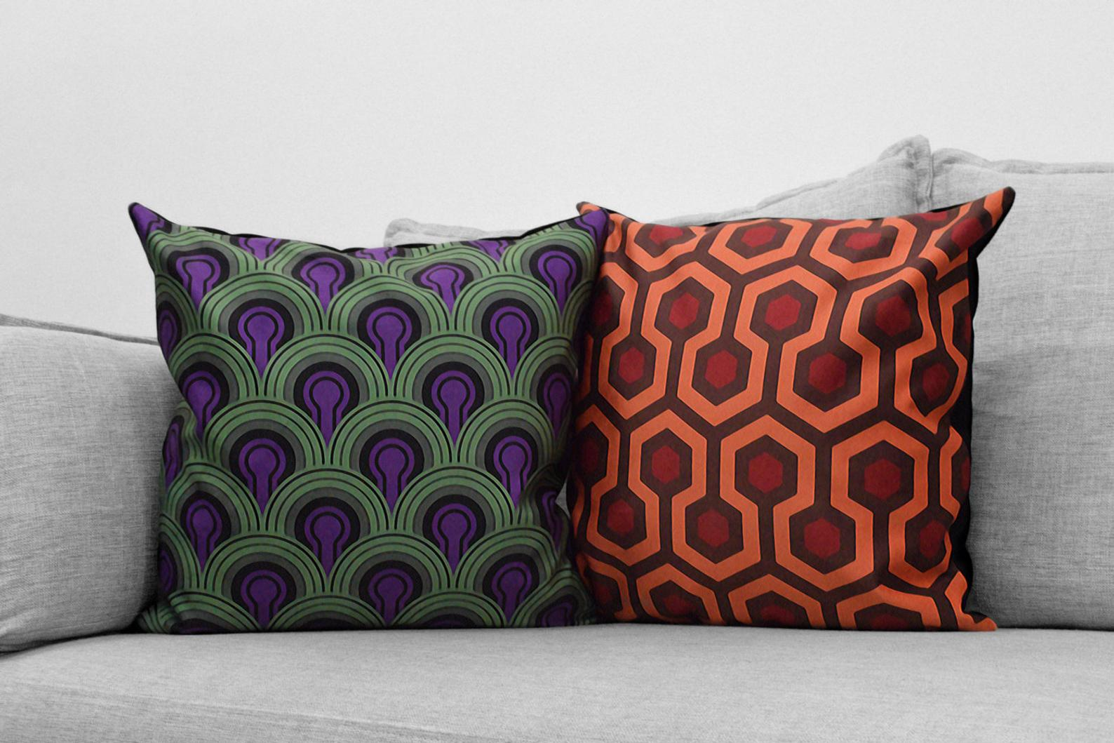 "the shining - set of 2 - 18"" velveteen pillow cases - overlook hotel // carpet patterns - room 237 & hallway"