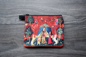 the lady and the unicorn- lined twill coin purse - double sided print - unicorn tapestries, 1495 - 1505