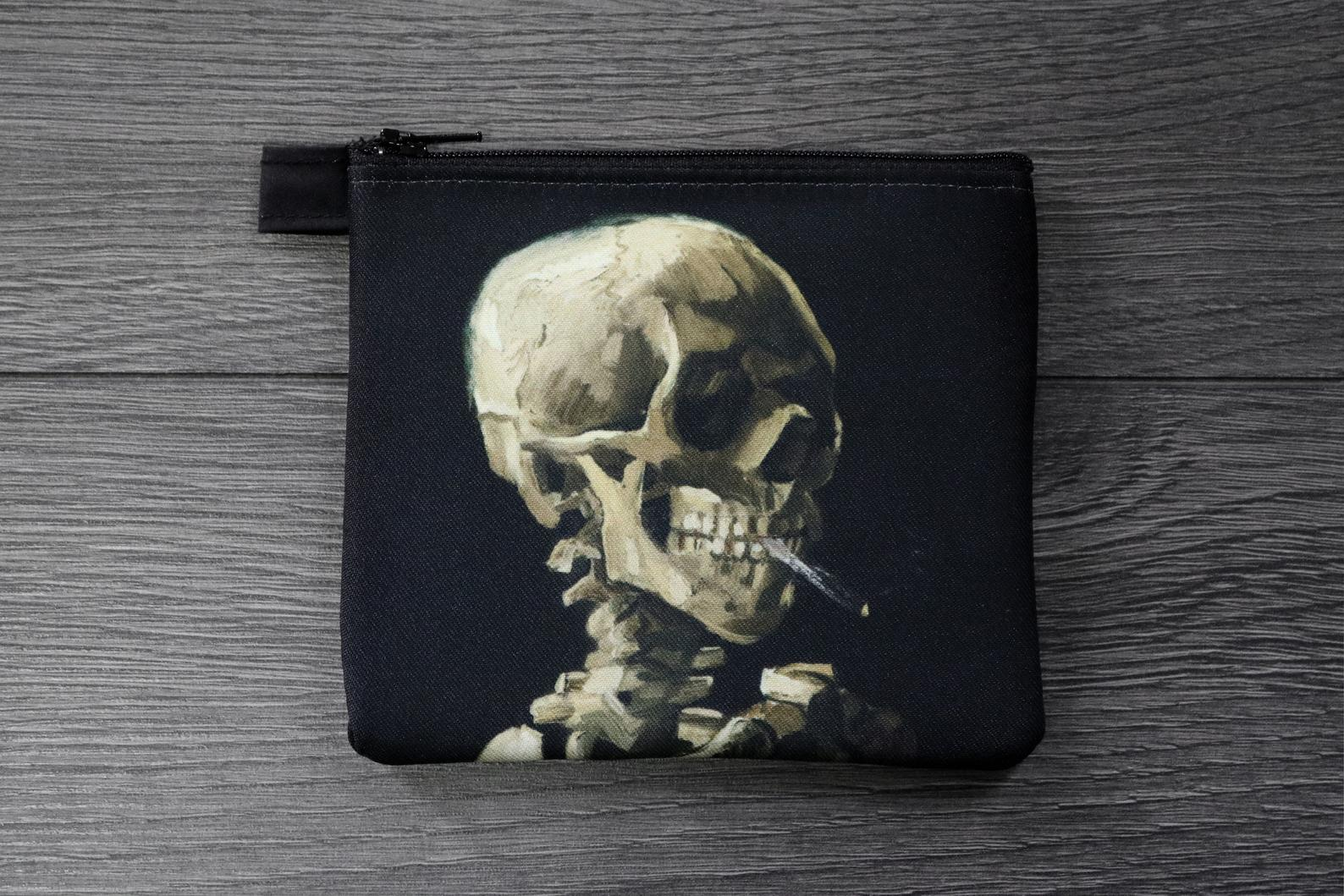 skull of a skeleton with burning cigarette - lined twill coin purse - double sided print - vincent van gogh painting, 1886