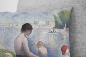 "a sunday afternoon on the island of la grande jatte // bathers in asnières -set of 2 -14"" x 20"" velveteen pillow cases georges seurat, 1886"