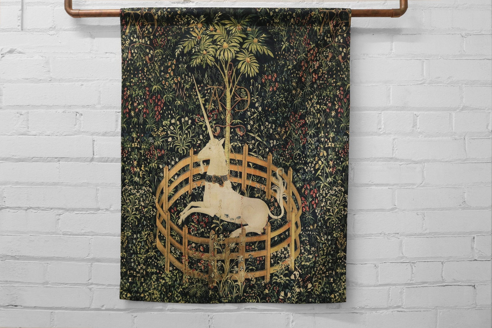 the unicorn is in captivity and no longer dead - large canvas printed banner // wall hanging - unicorn tapestries, 1495 - 1505