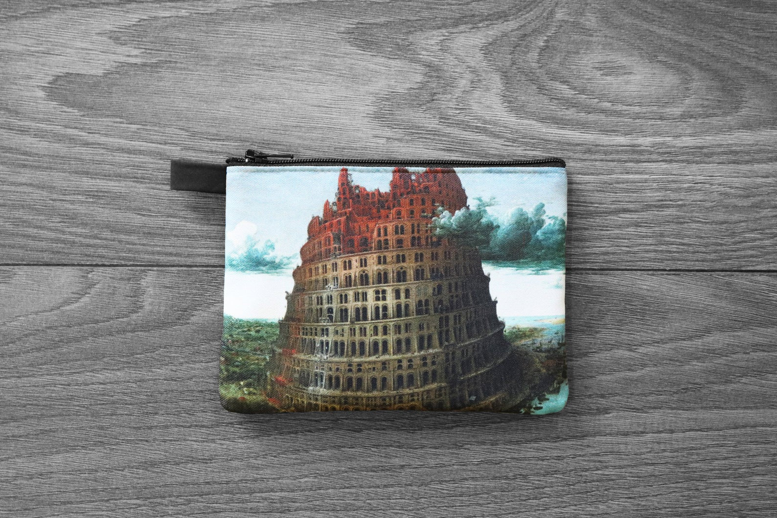 the tower of babel - lined twill coin purse - double sided print - pieter bruegel the elder, 1565