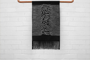 unknown pleasures - medium canvas printed banner // wall hanging with fringe - joy division