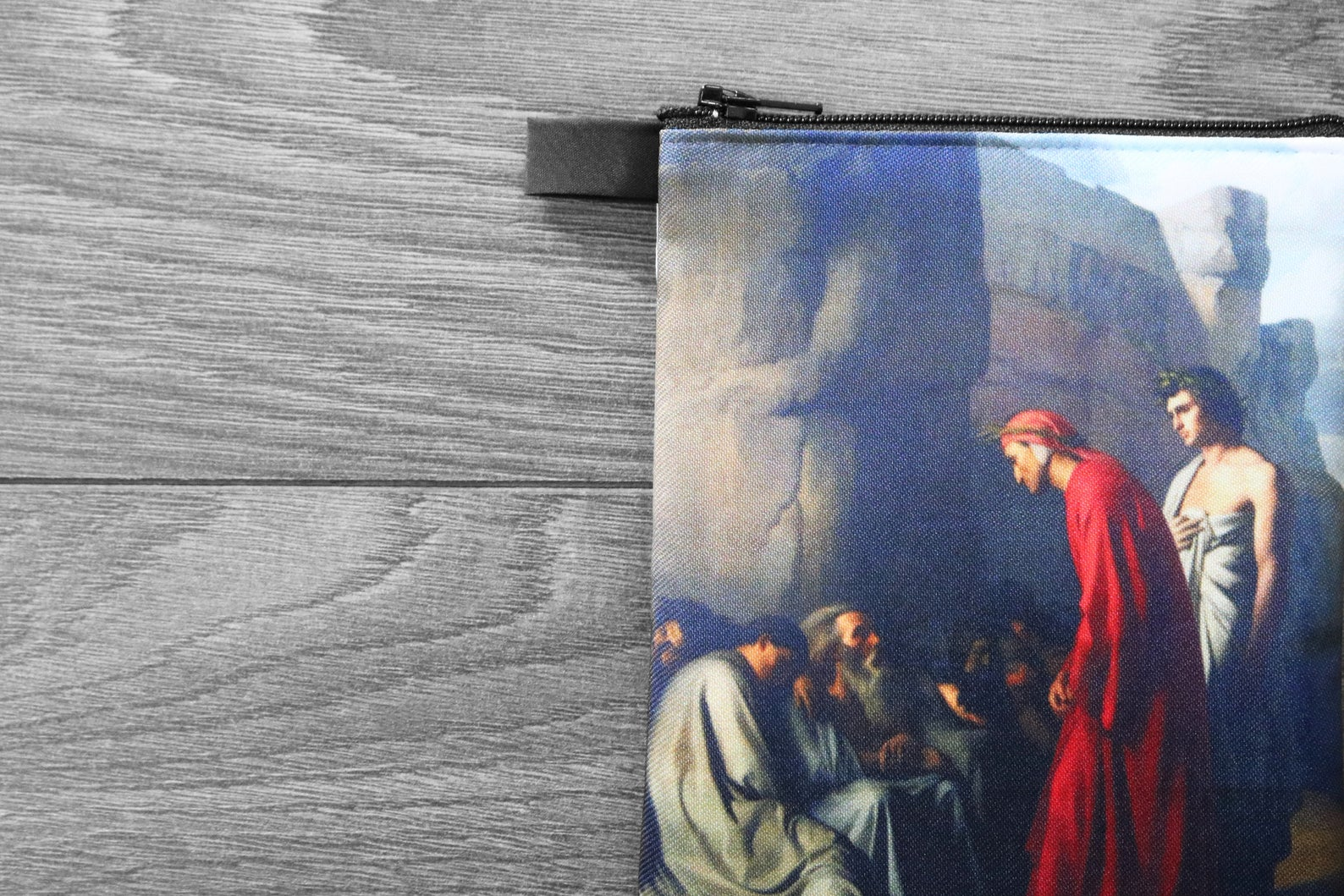 dante speaks with the souls of the envious - lined twill coin purse - double sided print - hippolyte flandrin, 1835