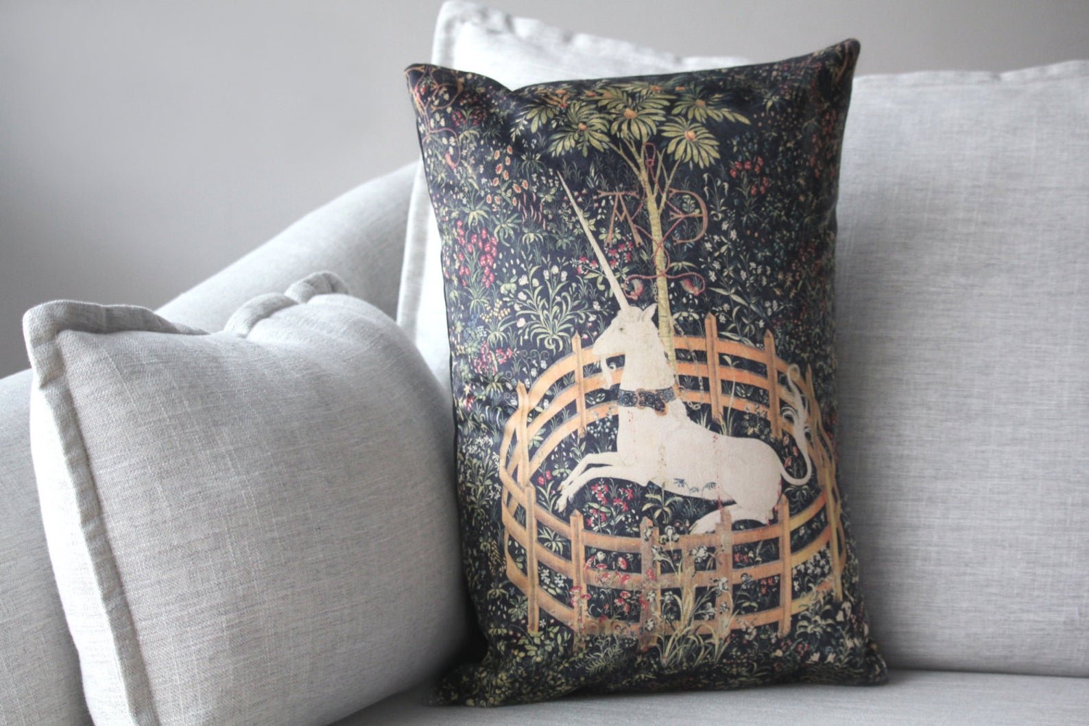 "the unicorn is in captivity and no longer dead - 14"" x 20"" velveteen pillow case - unicorn tapestries, 1495 - 1505"