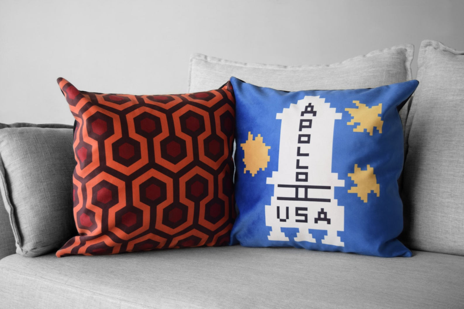 "the shining - set of 2 - 18"" velveteen pillow cases - overlook hotel // carpet pattern -- danny torrance // apollo 11 sweater"