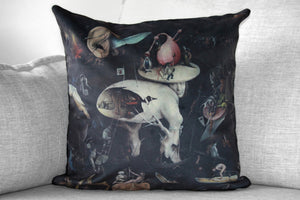 "the garden of earthly delights - set of 2 - 18"" velveteen pillow case - Hieronymus Bosch, 1480 - 1505"