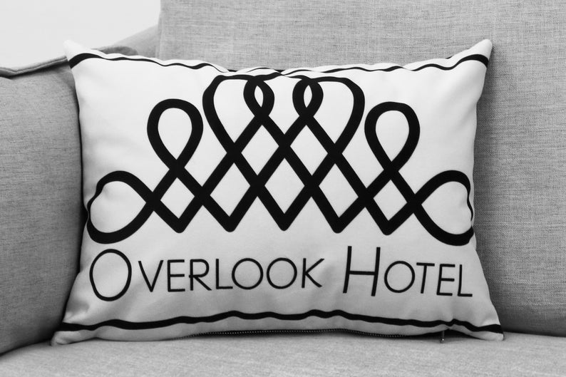 "the shining - set of two 14"" by 20"" velveteen pillow cases - overlook hotel decal // maze - black & white addition"