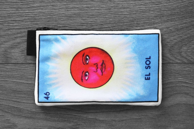 el sol - lined velveteen pencil case - loteria card game series