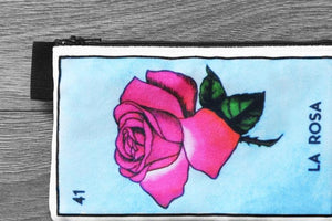 la rosa - lined velveteen pencil case - loteria card game series