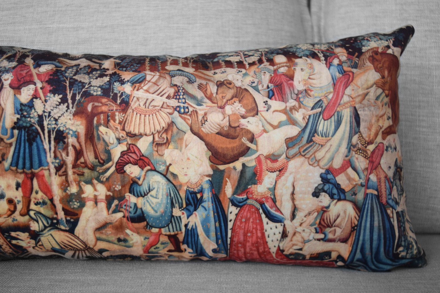 "the devonshire hunting tapestries - 12"" x 24"" velveteen lumbar pillow case - boar and bear hunt, 1425 - 1430"