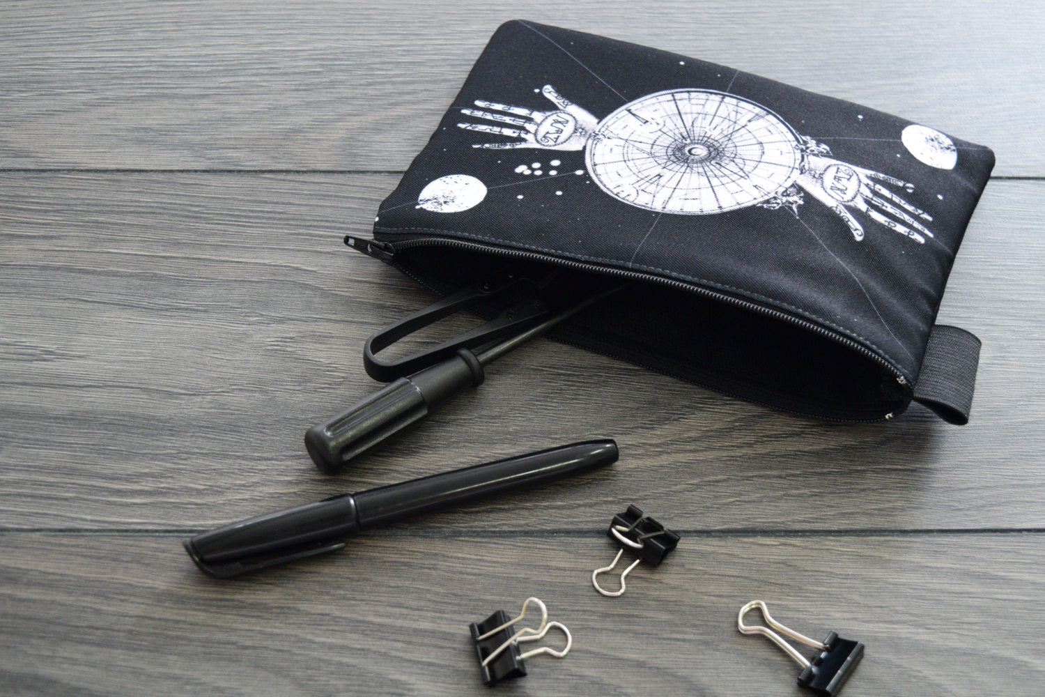 sacred geometry // palmistry // alchemy art - lined twill pencil case - double sided print
