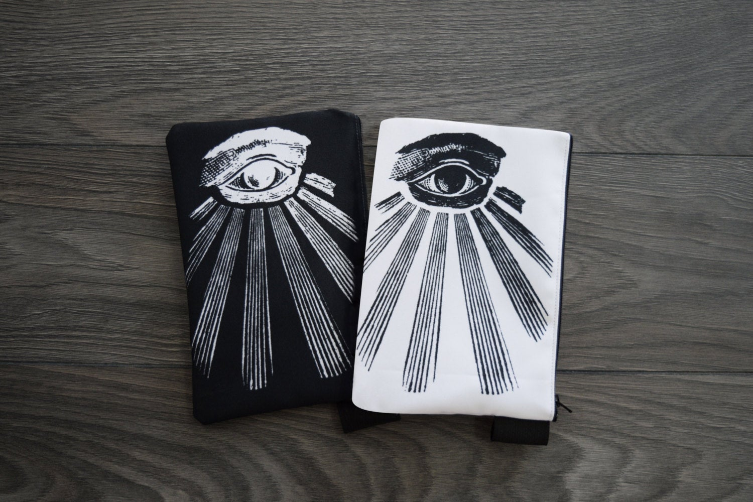 all seeing eye // masonic eye // omnipresent deity - set of 2 lined twill pencil cases - double sided print